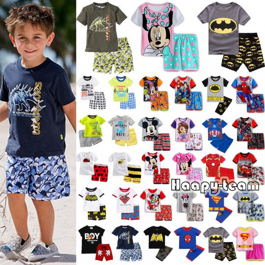 Kids Boys Cartoon Sleepwear Pj's Pyjamas Summer Outfits T-shirt + Short Pant Set
