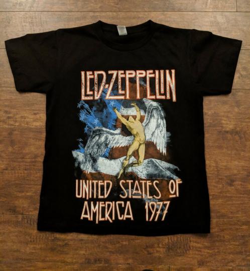 LED ZEPPELIN UNITED STATES OF AMERICA 1977 ANGEL FLAG T-SHIRT