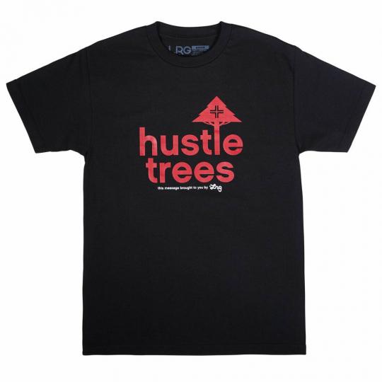 LRG Men's RC Hustle Trees Short Sleeve T Shirt Black/Red Clothing Apparel Ska...