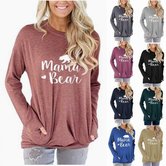 LZ0161  Mama Bear Letter Printed Loose Round Neck Long Sleeve Top Sweatshirt