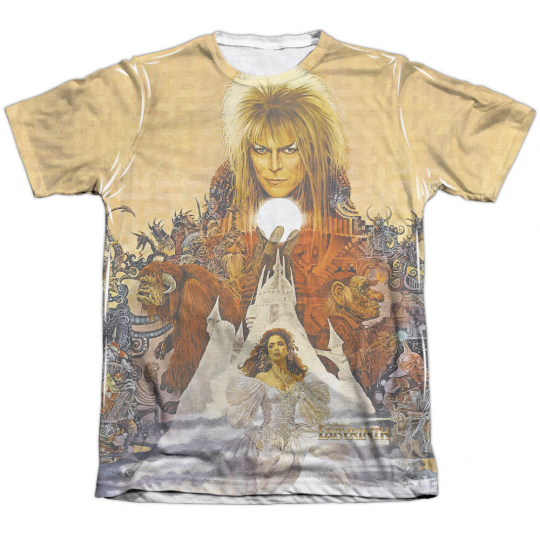 Labyrinth Movie Poster COVER ART 1-Sided Sublimated Print Poly Cotton T-Shirt