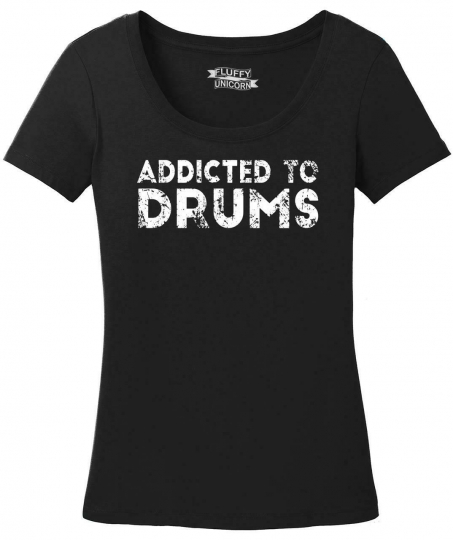 Ladies Addicted To Drums Scoop Tee Drummer Music Musician Band