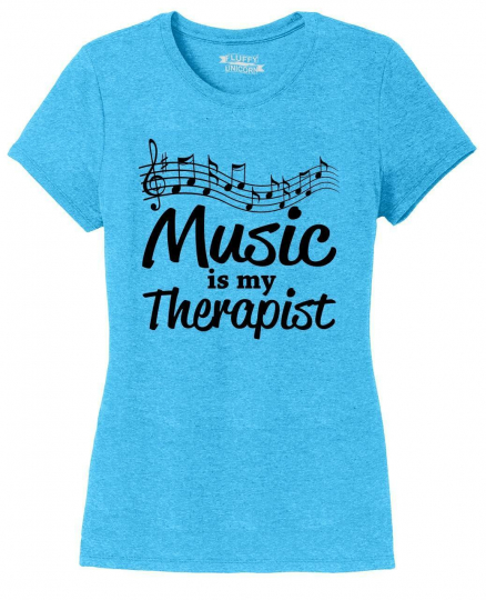 Ladies Music Is My Therapist Tri-Blend Tee Singer Dancer Musician