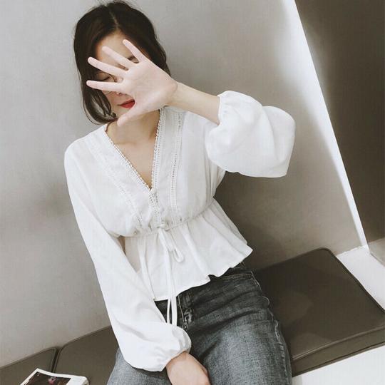 Ladies casual V-Neck chiffon blouse long sleeve women shirt style korean Fashion