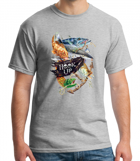 Lets Hook Up  Adult's T-shirt Fish Pirates and Fun Party Tee for Men - 2022C