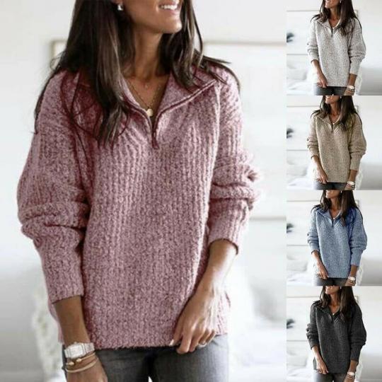 Long Sleeve Pullover Jumper Women Sweater Coat Sweatshirt Warm Tops Winter Knit
