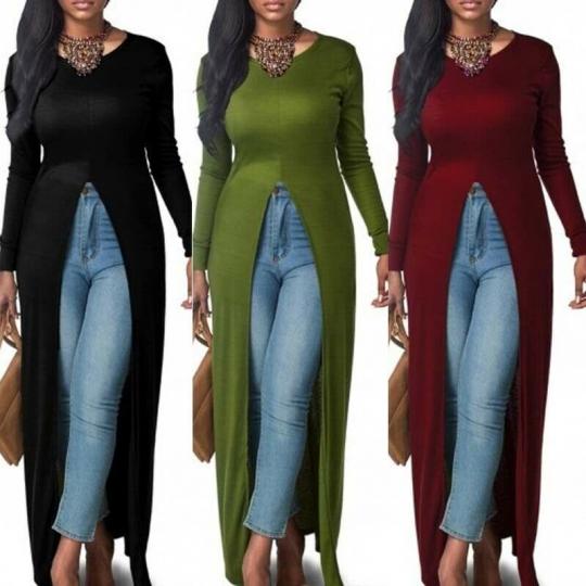 Long Sleeve Split Casual Open Slim Dress Maxi S-3XL Front Shirt Women Tops