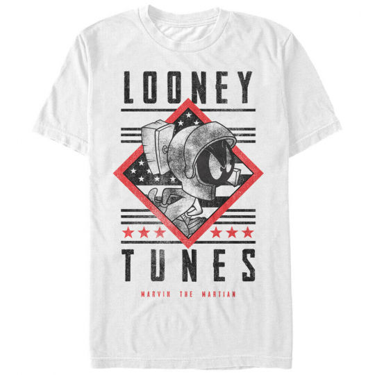 Looney Tunes Marvin Text Men's White Shirt