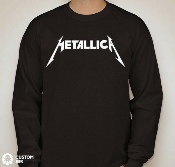 METALLICA Logo Long Sleeve Black T-Shirt Rock Metal Tee NEW Band Music Guitar