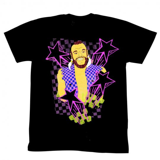 MR. T Black Stars Pink Outline Checkered Vest Cartoon Image Black Adult T-Shirt