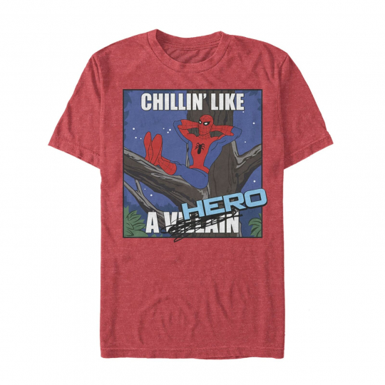 Marvel Spider-Man Chillin' Like a Hero Mens Graphic T Shirt