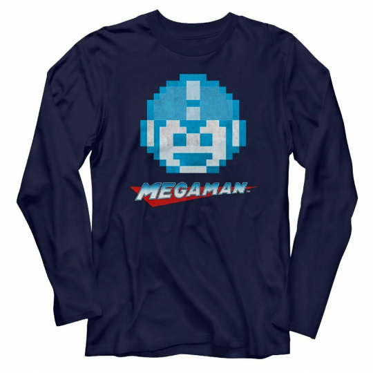 Mega Man Megaface Navy Adult Long Sleeve T-Shirt