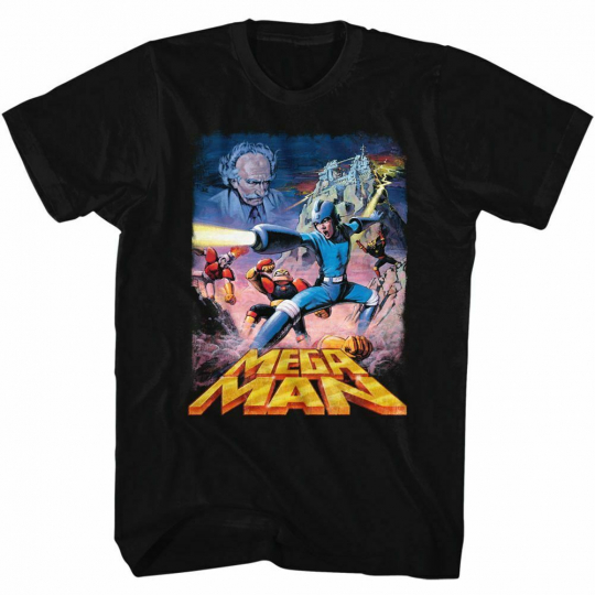 Mega Man Postery Black Adult T-Shirt