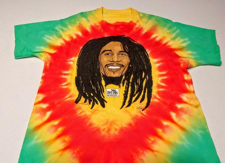 Mega Rare Vintage Smiling Bob Marley Tie Dye T-Shirt Bought in '87 3D Dreads XL