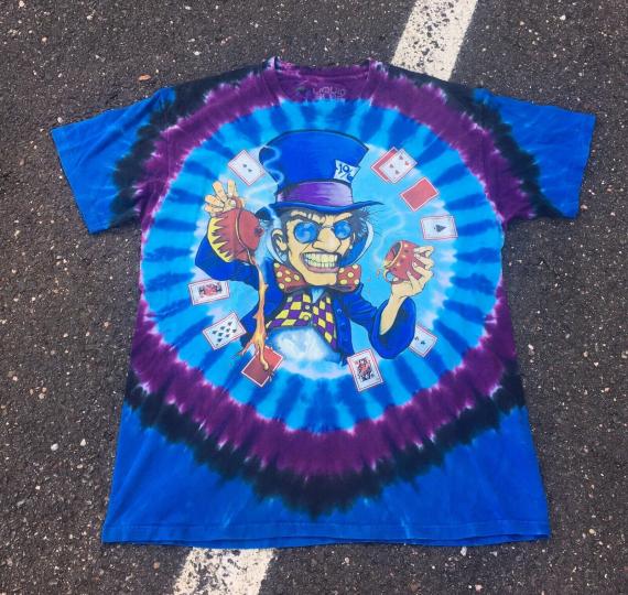 Men's Retro 2003 Liquid Blue Mad Hatter Grateful Dead Brian Fox T-shirt Sz Large