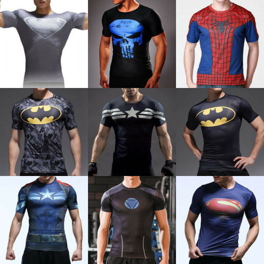 Men Marvel Superhero Jersey Top Sport Gym Compression T-Shirt Cycling Muscle Tee