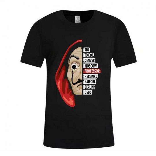 Men Women Unisex La Casa De Papel Dali Mask Tokyo Rio Professor T-shirt Osl M1F9