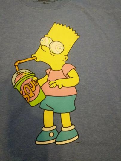 Men' s The Simpsons T-Shirt - Bart Simpson Hypnotized Heather Royal Sz XL
