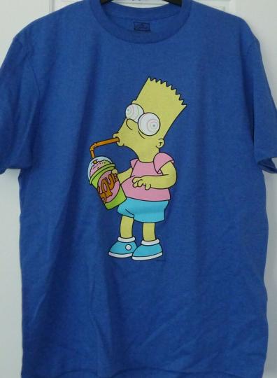 Mens Bart Simpson Large T-Shirt Squishy Brain Freeze Blue Short Sleeves