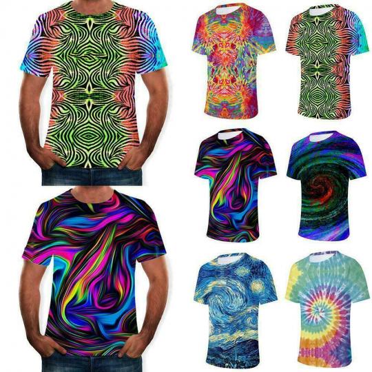 Men's Colorful Tie-Dye  3D Print Casual Short T-Shirt sport Tops E0Z3