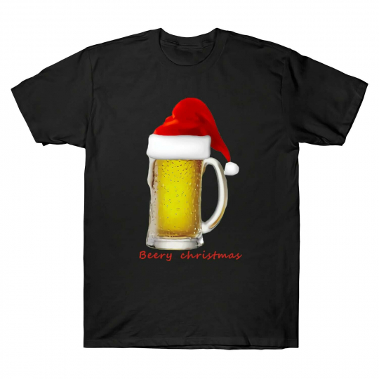 Mens Funny Beery Christmas Tee Hot Sales Casual Cotton High Quality T-shirt