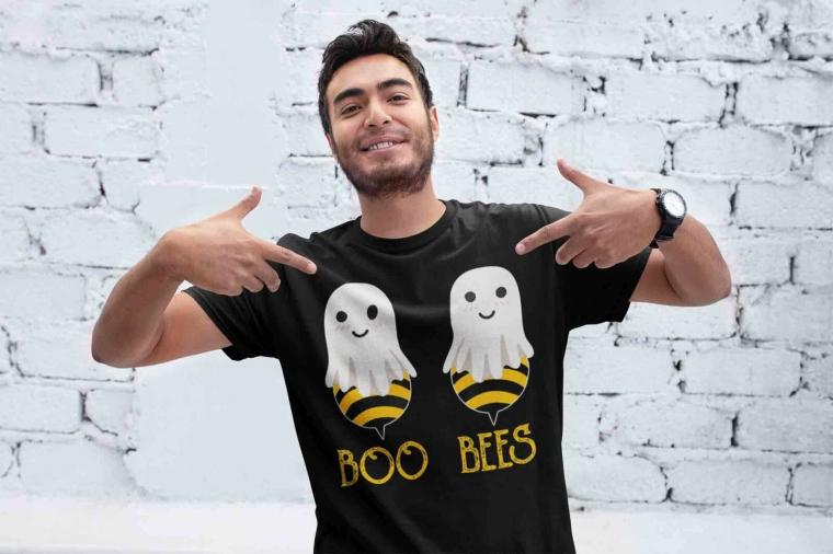 Men's Funny Halloween T Shirt Boo Bees Shirt Bee Halloween Shirts Boo Bees T Shi
