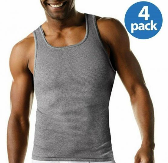 Men's Hanes 4Pk Color A-shirt Tagless Undershirt Tank Top Wife Beater Size S-2X