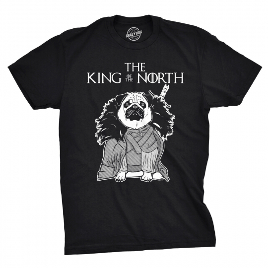 Mens King of North Funny Pug Face Tee Hilarious Dog Lover Shirts Novelty T shirt