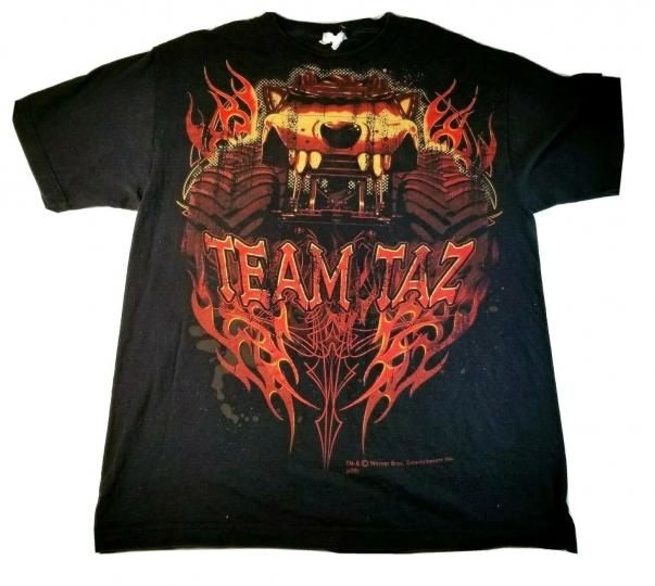 Mens Large Team Taz Warner Bros Novelty T shirt Monster Truck Tazmanian Devil