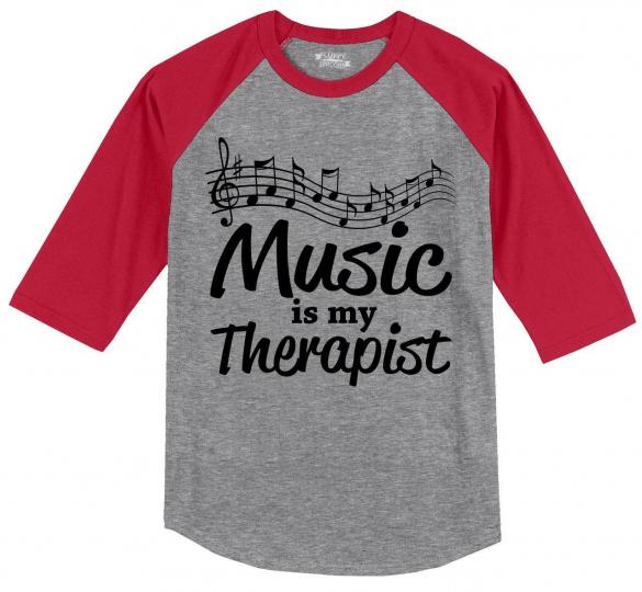 Mens Music Is My Therapist 3/4 Raglan Singer Dancer Musician Shirt