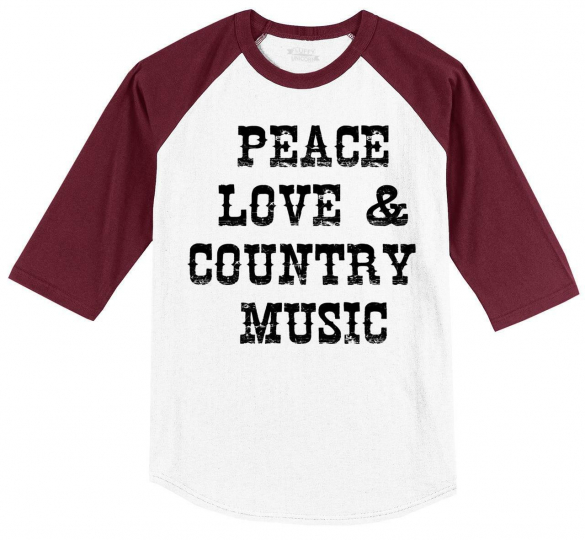 Mens Peace Love & Country Music 3/4 Raglan Concert Party Shirt