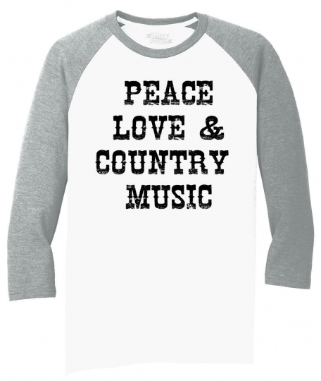 Mens Peace Love & Country Music 3/4 Triblend Concert Party Shirt