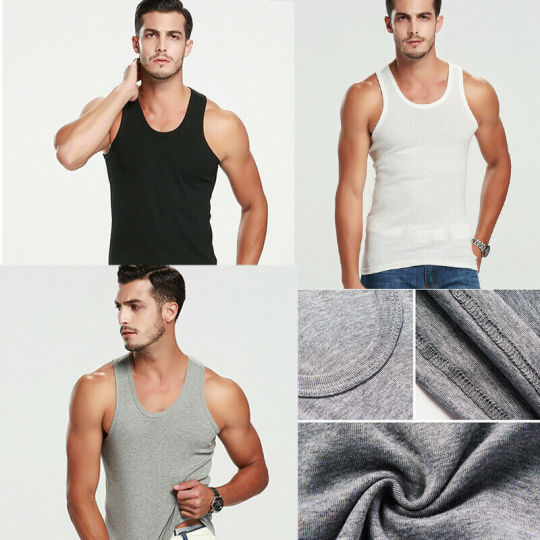Mens Plain Vests Cotton Tank Top Summer Gym Sleeveless T-Shirt Athletic Training