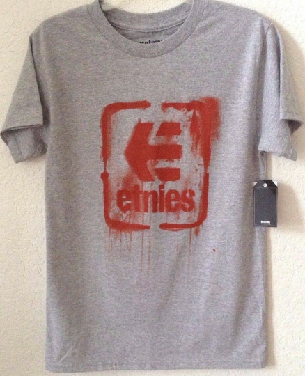 Men's SMALL Gray Etnies Knit Tee Shirt T Shirt 'Smash Hit' S/S Cotton/Poly NWT