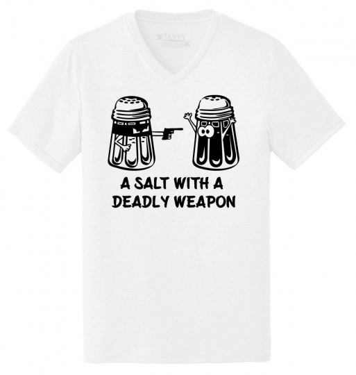 Mens Salt Asault With Deadly Weapon Funny Gun Food Humor Tee Triblend V-Neck
