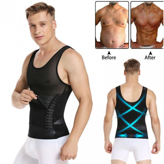 Men's Slimming Body Shaper Waist Trainer Vest Gym Tops Belly Compression Corset