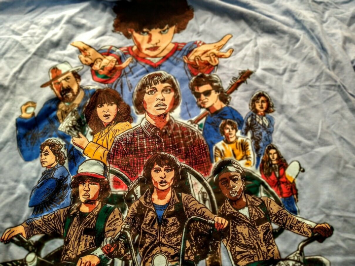 Men's Stranger Things Netflix T-Shirt Sky Blue Size XL