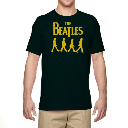 Men's T-Shirt Ringer Beatles Band Graphic Tee Casual Short Sleeve Top Cotton