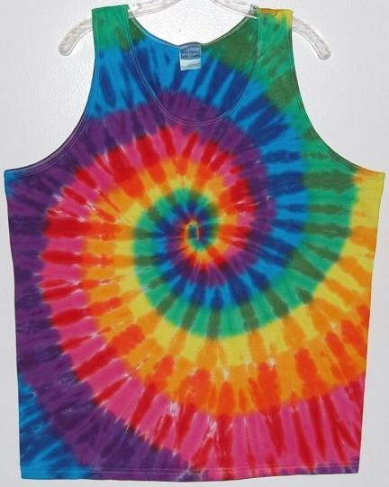 Men's TIE DYE Tank Top Rainbow PinWheel sm m l xl 2x 3x hippie art grateful dead