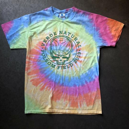 Men's Verde Natural Grateful Dead Skull Tie Dye Folsom Field T Shirt Tee Sz M