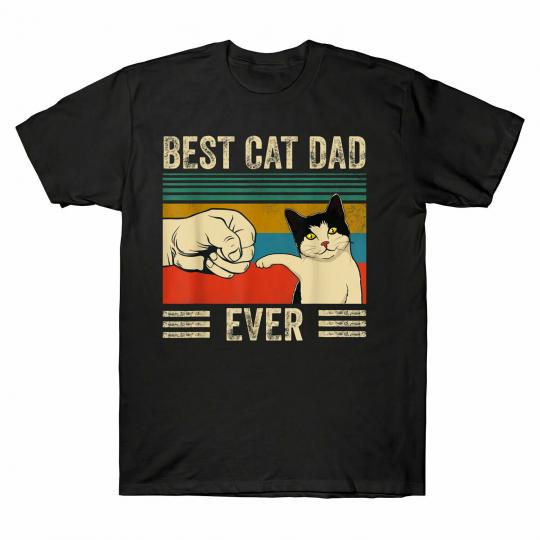 Men's Vintage Best Cat Dad Ever Bump Fit Men's T-Shirt Cat Lover Gift Tee Retro