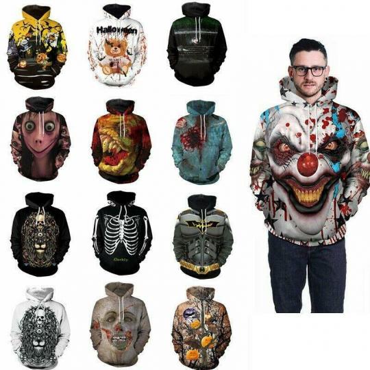Mens Womens Halloween Costume 3D Print Hoodie Hooded Sweatshirt Pocket Pullover