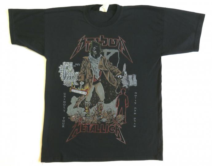 Metallica Vintage T Shirt 1993 Tel Aviv Summer Tour Concert Cities Pushead