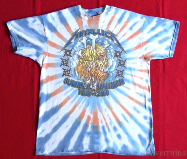 Metallica Vintage T Shirt 2000 Concert Tour Summer Sanitarium Tie Dye XL
