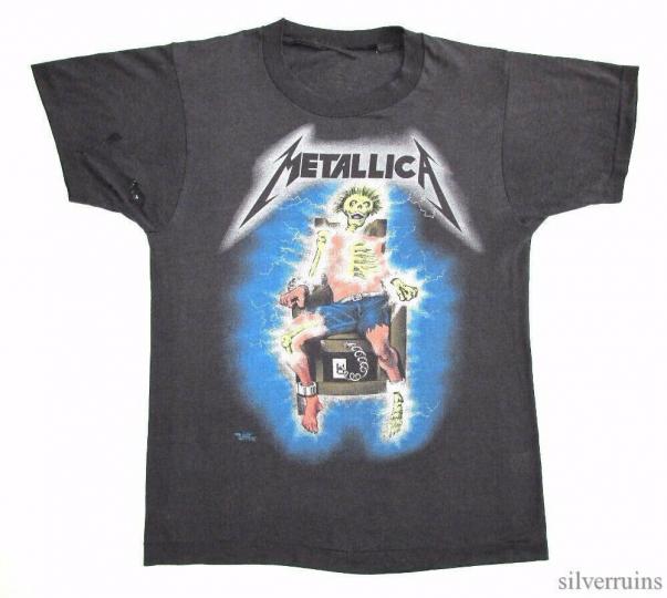 Metallica Vintage T Shirt 80's 1985 Tour Concert Electric Chair Kill Em All