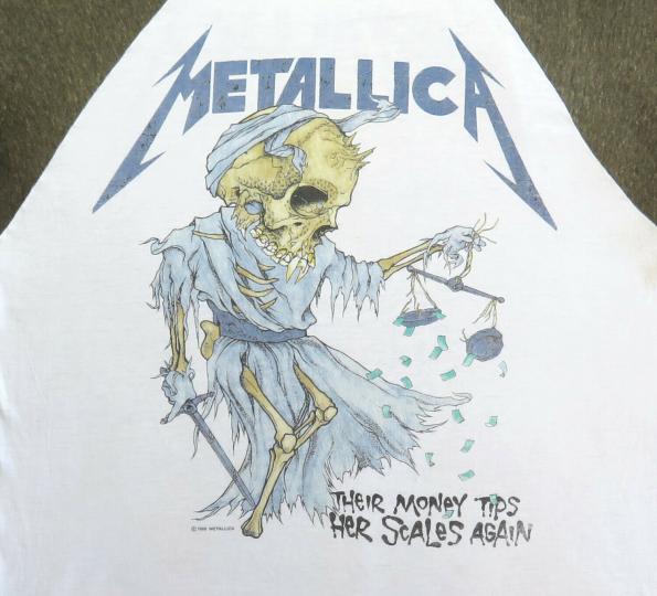 Metallica Vintage T Shirt 80's 1988 Pushead Doris Raglan Jersey Thrash Metal