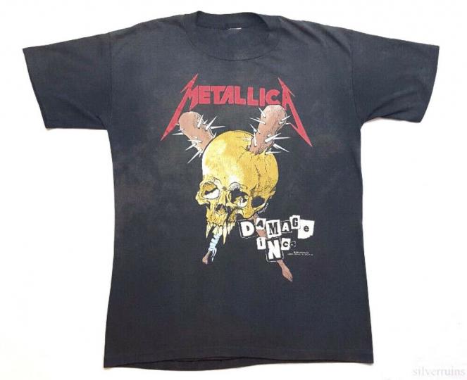 Metallica Vintage T Shirt 80's 1989 Tour Concert Pushead Damage Inc Thrash Metal
