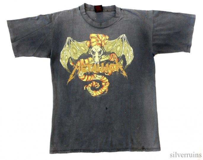 Metallica Vintage T Shirt 90's 1992 Pushead Bat Roam Lyrics Thrashed Worn In!!!!