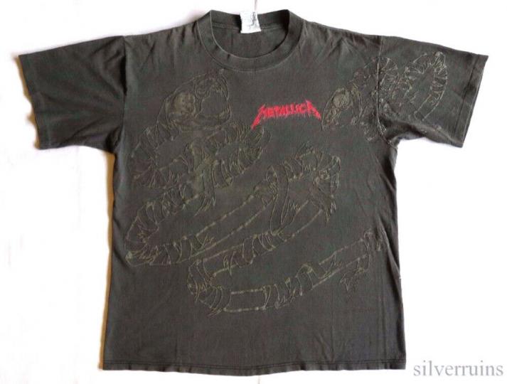 Metallica Vintage T Shirt 90's 1992 Tour Concert XL Pushead Snake Allover Print