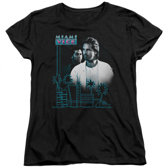 Miami Vice TV Show Crockett Tubbs LOOKING OUT Skyline Women's T-Shirt All Sizes